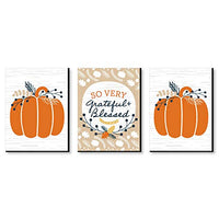 Grateful and Blessed Wall Art and Fall Decorations - 7.5 x 10 inches - Set of 3 Prints