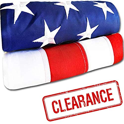 Heavy Duty American Flag - Heavy-Duty US Flag - Embroidered Stars - Nylon USA Flag Built for Outdoors - Sewn Stripes - UV Protection - Brass Grommets (3x5 ft)