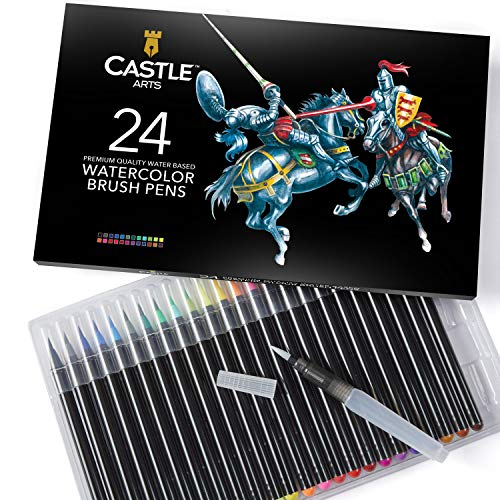 "Watercolor Brush Pens Set of 24 - Vibrant Markers with Flexible Nylon Brush Tip for Coloring Books, Calligraphy, Drawing and Writing - Includes Free""Blending"" Water Brush Pen"