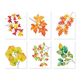 "Minimalist Autumn Red Maple Art Print,Fallen Leaves Canvas Wall Art Set Of 6(8""X10"" Unframed) Romantic Modern Poster For Thanksgiving Bedroom Living Room Bathroom Office Decor"