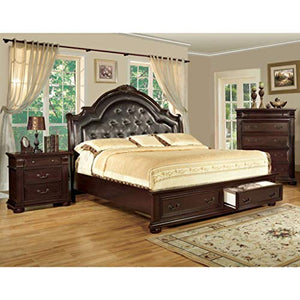 Furniture of America Lauretta English Style Brown Cherry Platform Bed-Queen