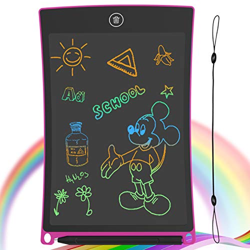 GUYUCOM 8.5-Inch LCD Writing Tablet Colorful Screen Doodle Board Electronic Digital Drawing Pad with Lock Button for Kids or Adults (Pink)