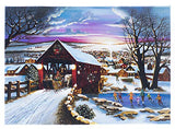 "Winter Scene Flashing LED Light Up Canvas Print Wall Art 8""x 6"" With Timer"