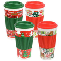 Holiday Printed Travel Mugs 16Oz Double Wall Set of 4 - Great Presents for (Friends and Family, On The Go, Office, Travel...)