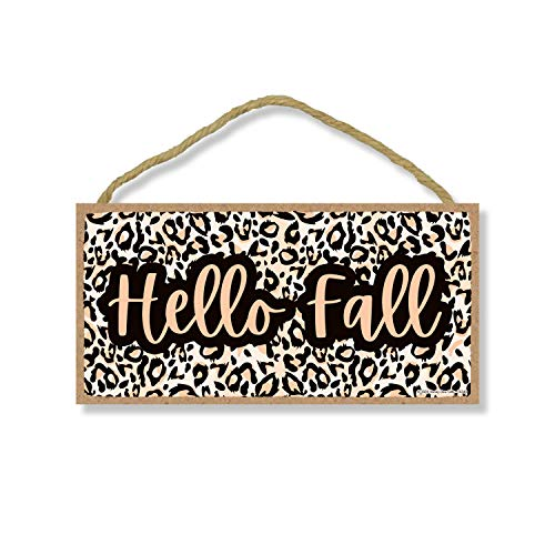 Hello Fall, Leopard Wood Hanging Autumn and Fall Decorative Print