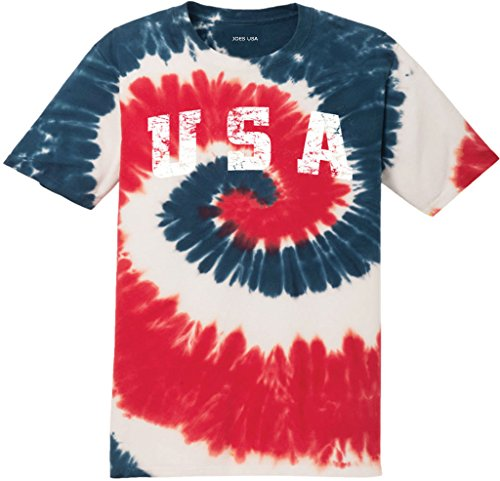 USA Tie Dye Logo Heavyweight Cotton T-Shirt-USA