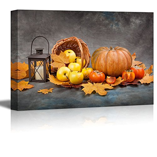 "Pumpkin, Apples, Autumn Leaves and Lantern 24"" x 36"" Wall Art"