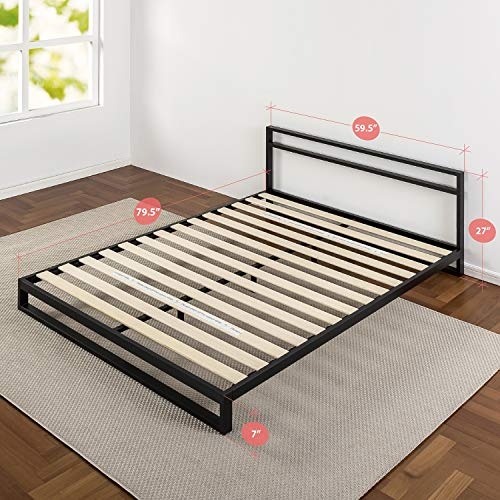 "7 Inch Queen Platform Bed Frame with Headboard/Mattress Foundation/Box Spring Optional/Wood Slat Support, Queen & Ultima 10"" Comfort Memory Foam Mattress"