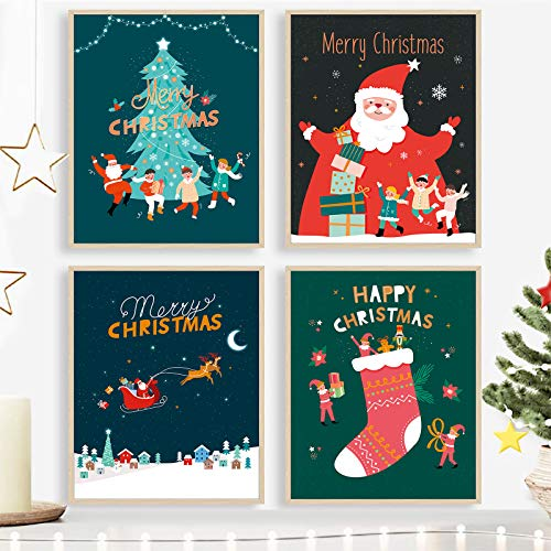 Unframed Art Prints 8x10 Christmas Posters for Kids Room Cartoon Paintings (4 Pack)