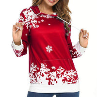 LOTUCY Christmas Women Sweatshirt Casual Hoodie Jumper Graphics Loose Snowflake Print Pocket Pullover Long Sleeve Sweater Xmas Holiday Funny Tops (Red, XXL)