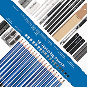 Drawing Pencils Sketch Art Set-40PCS Drawing and sketch set Includes 18 Sketching graphite Pencils, graphite and charcoal pencils, 100 pages sketch book and Accessories for Kids Teens Adults