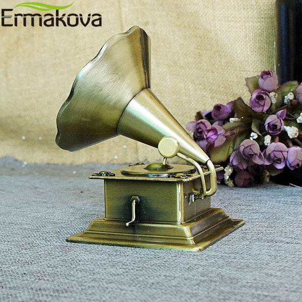ERMAKOVA Metal Retro Phonograph Model Vintage Record Player Prop Antique Gramophone Model Home Office Club Bar Decor Gift