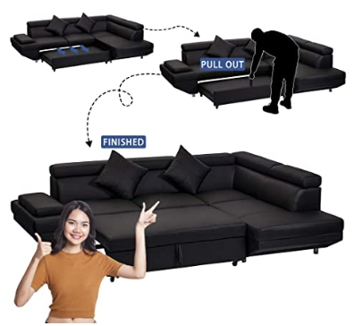 Queen Modern Contemporary Sectional Sofa for Living Room Futon Sofa Bed, Faux Leather Corner Sofa
