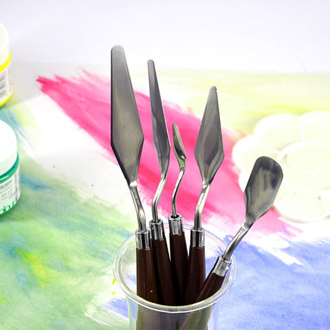 Fine Arts Professional Stainless Steel Spatula Kit Palette Knife for Oil Painting Flexible Blades
