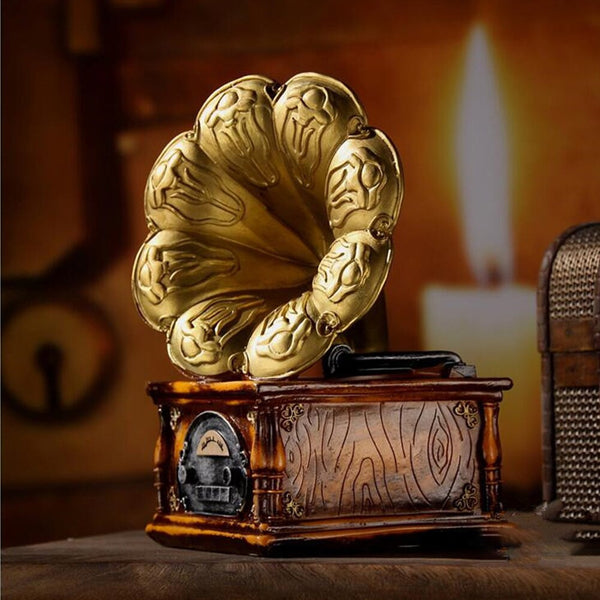 Gramophone Model Gifts Home Decoration Restaurant Vintage European Record Players Bar Crafts Resin Ornaments Office Cafe Bedside