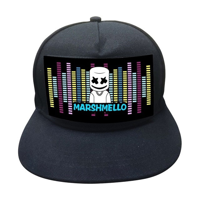 Light Up Sound Activated Baseball Cap DJ With Detachable Screen