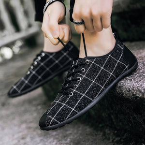 Men's Vulcanize Shoes Breathable Canvas Lace-up Plaid Trendy Retro New Men All-match Outdoor Students Flat with Non-slip Sneaker