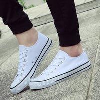 Men's Vulcanize Shoes Classic Canvas Shoes Solid Lace-up Casual White black Red Couple Sneakers Low-cut Canvas Shoes BINHIIRO