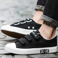 Mens Sneakers Canvas shoes for Boys Breathable Hook & loop Solid Brand Hard-wearing Fashion Black/Blue/White Shoes Man