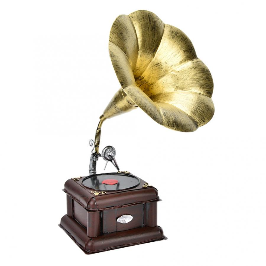 Metal Retro Phonograph Model Vintage Record Player Miniature Home Office Club Decor Crafts Gift Home Decoration
