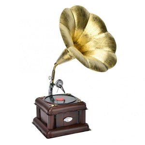 Metal Retro Phonograph Model Vintage Record Player Miniature Home Office Club Decor Crafts Model Gift Home Decoration