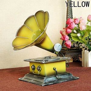 New Arrivals Retro Phonograph Model Vintage Record Player Prop Antique Gramophone Model Home Office Club Bar Decor Ornaments