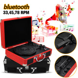 Plastic Wood Retro 33/45/78 RPM bluetooth PH/ INT/ BT 2.0 Suitcase Turntable Vinyl LP Record Phone Player 3-Speed 3.5mm AUX IN