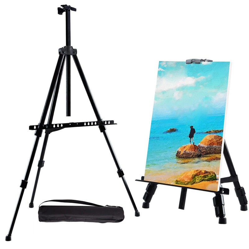 Portable Adjustable Metal Sketch Easel Stand Foldable Travel Easel Aluminum Alloy