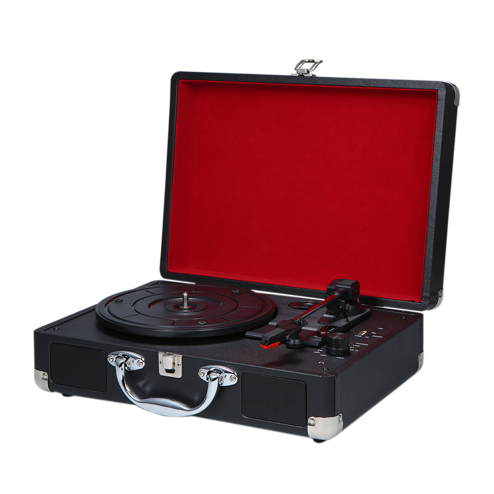 Portable Turntable Player with Speakers Vintage Bluetooth Phonograph USB Interface Turntables Record Player Stereo Sound