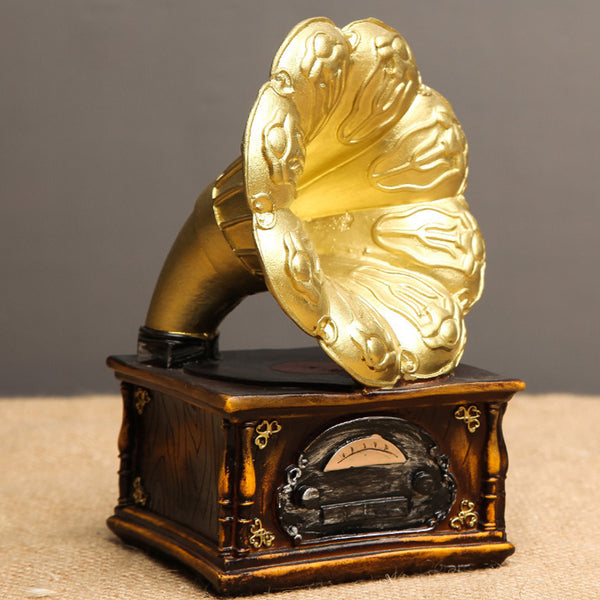 Restaurant Bedside Gramophone Model Gifts Office Art Vintage European Record Players Bar Resin Ornaments Home Decoration Crafts