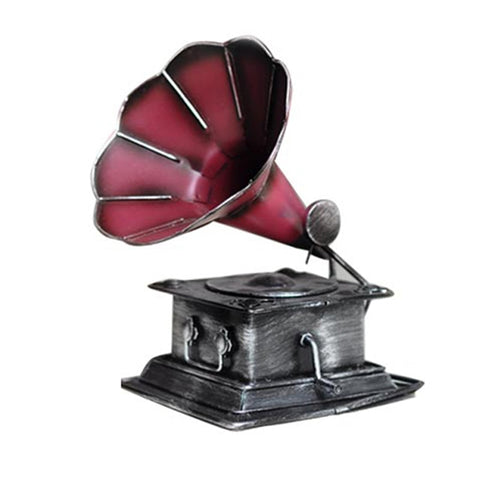 Vintage Nostalgic Desk Craft Retro Phonograph Record Player Miniature Shooting Props Coffee Bar Office Decor Furnishing Articles