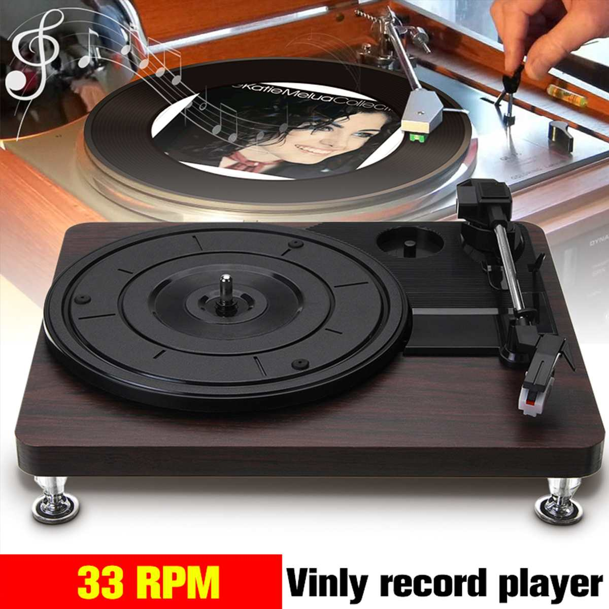 Wood Color 33RPM Record-Retro Player Portable Audio Gramophone Turntable Disc Vinyl Audio RCA R/L 3.5mm Output Out USB DC 5V