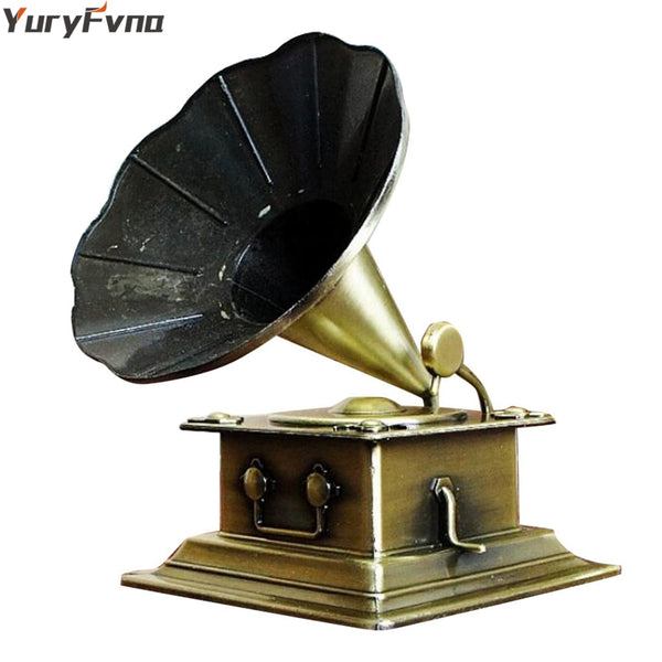 YuryFvna Retro Phonograph Figurine Metal Vintage Record Player Prop Gramophone Model Home Office Club Bar Decoration Gift