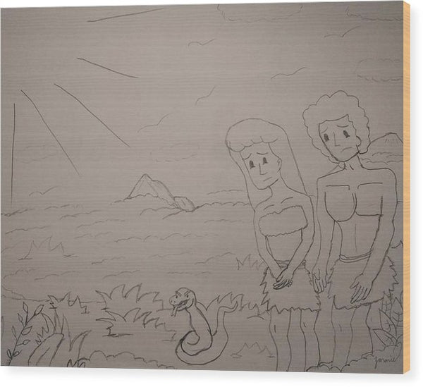 Interpretation of Adam and Eve Drawing - Wood Print