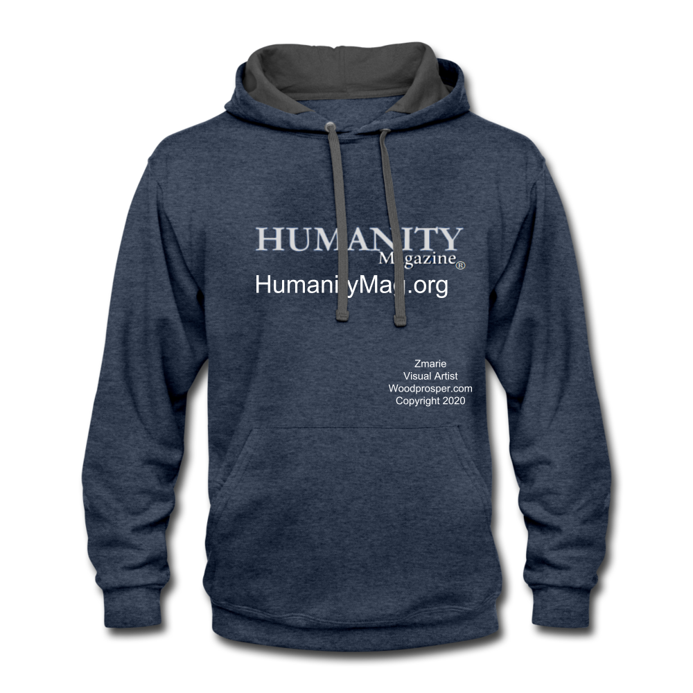 Unisex Humanity Project Contrast Hoodie - indigo heather/asphalt
