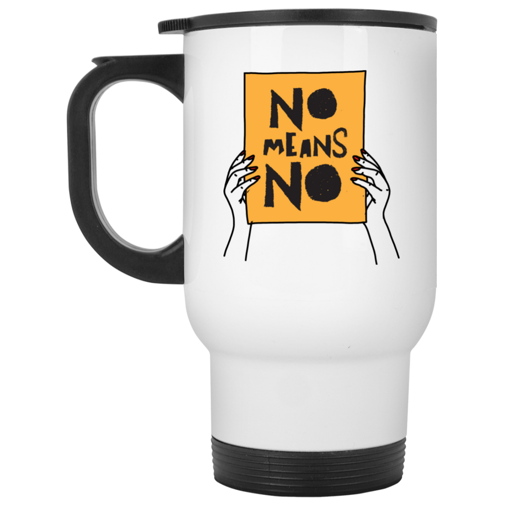 No Means No with Hands White Travel Mug