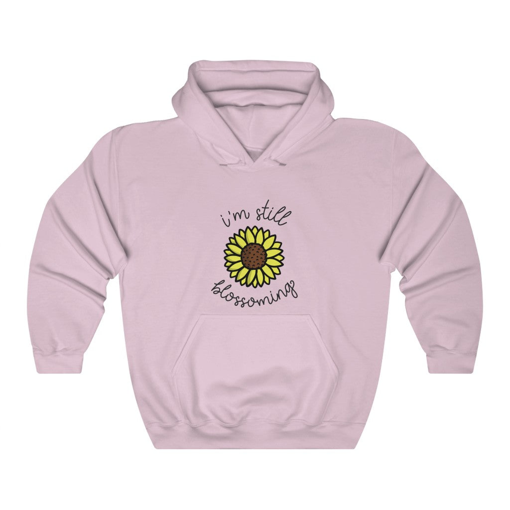 I'm Still Blossoming Hooded Sweatshirt by EMEJOTA