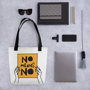 No Means No with Hands Tote Bag by EMEJOTA