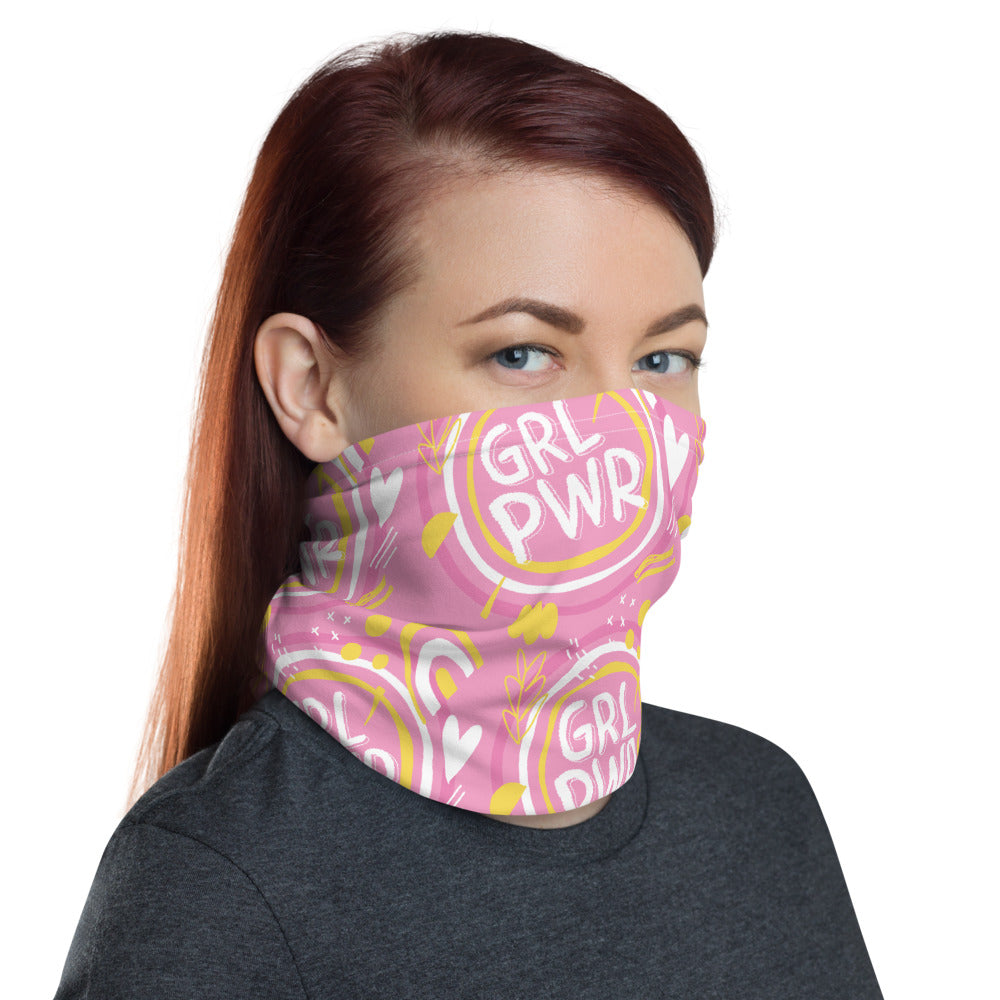 Our Girl Power neck gaiter is a versatile accessory that can be used as a face covering, headband, bandana, wristband, and neck warmer. The CDC suggests wearing face cloth coverings in public settings where other social distancing measures are difficult to maintain.