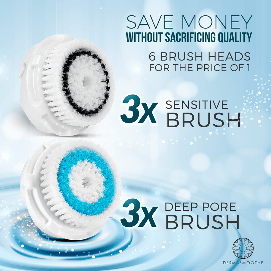 DermaShine 6 pack Deep Pore and Sensitive Brush Head Replacements