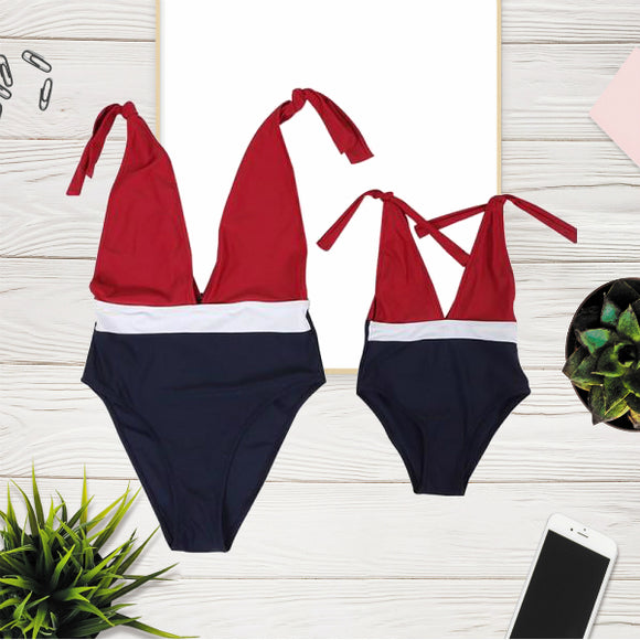 Maman & Fille - Maillot de bain assorti «French Nœud» 1 pièce