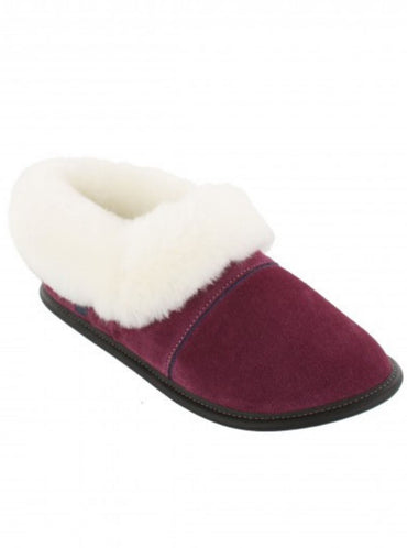 Plum Lazybone Slipper with White Sheepskin 0550