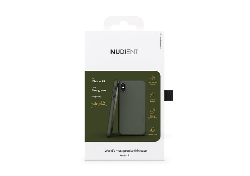 Nudient - Tynt iPhone XS Deksel V3 - Pine Green