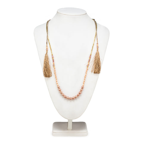 Collier Tassel 2 brins - OR et ROSE 33""
