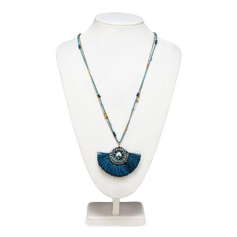 Collier Tassel Long - BLEU 34""