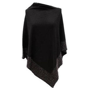 PONCHO WITH EMBELLISHED BORDER