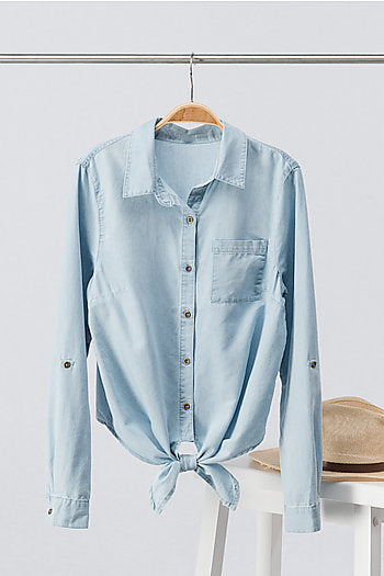 Light chambray tie front shirt