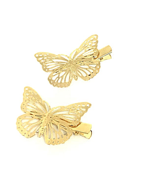 Golden Butterfly Hair Clips 2 per set