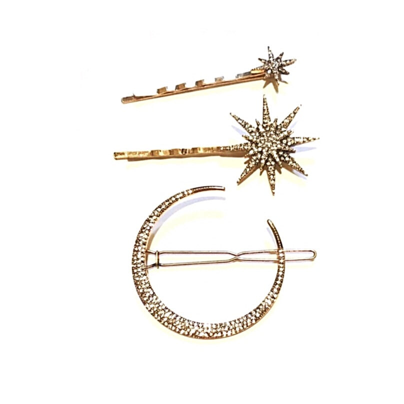 Moon Sun & Star Hair Clip Set