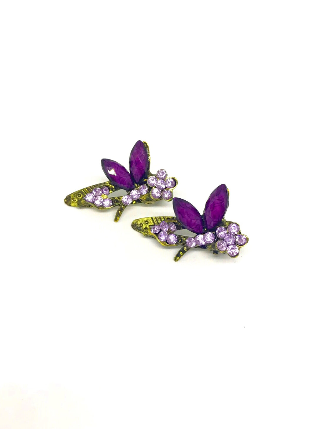Colorful Crystal Magical Butterfly Hair Clips 2 per set